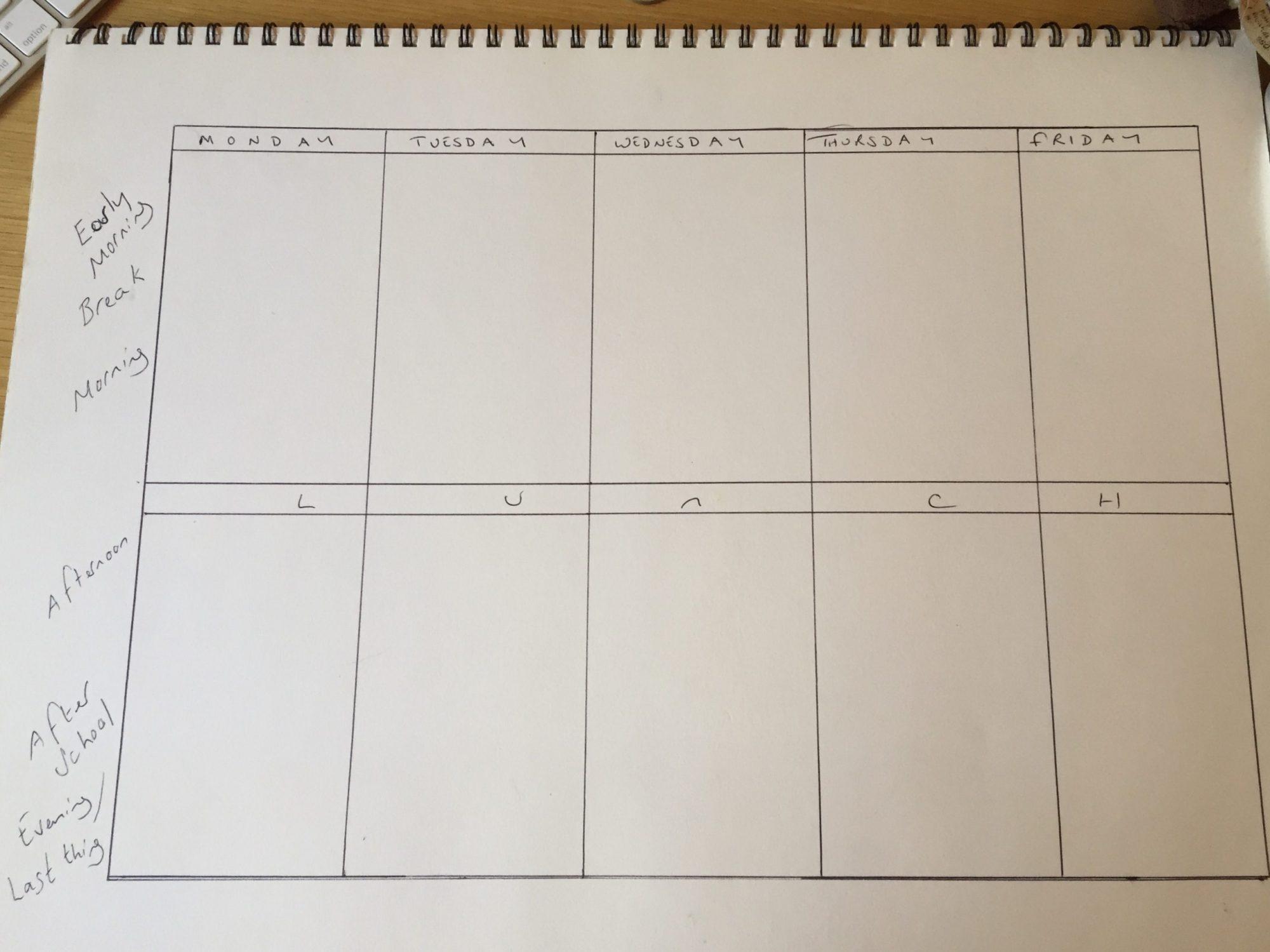 Hand drawn timetable