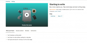 Screenshot of the Starting to Write Udemy page