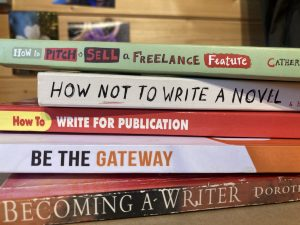 Pile of writing books discussed in blog post